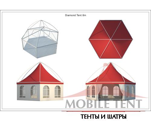Шестигранный шатёр Лондон (Диаметр 8 м) Схема 5